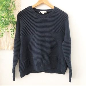 SILENCE + NOISE Navy Rib Stitch Pullover Sweater